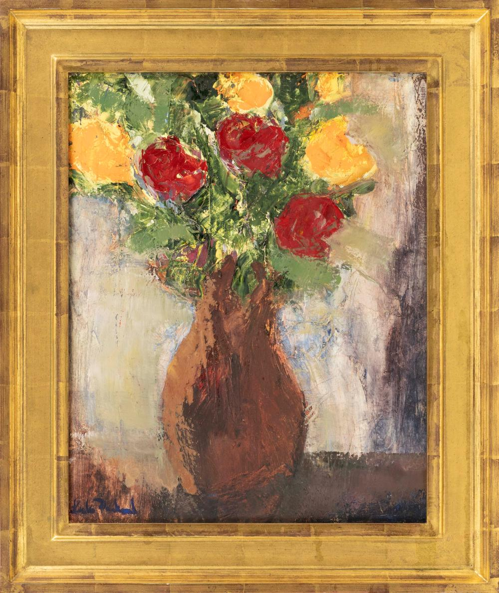 """LESLIE PACKARD, America, Contemporary, Floral still life., Oil on canvas, 20"""" x 16"""". Framed 26"""" x 21.5""""."""