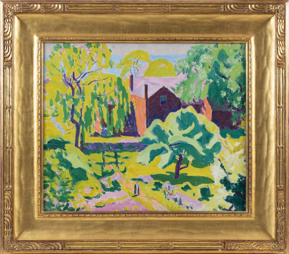 "E. AMBROSE WEBSTER (Massachusetts, 1869-1935), ""Red House Provincetown""., Oil on canvas, 20"" x 24"". Framed 30"" x 36""."