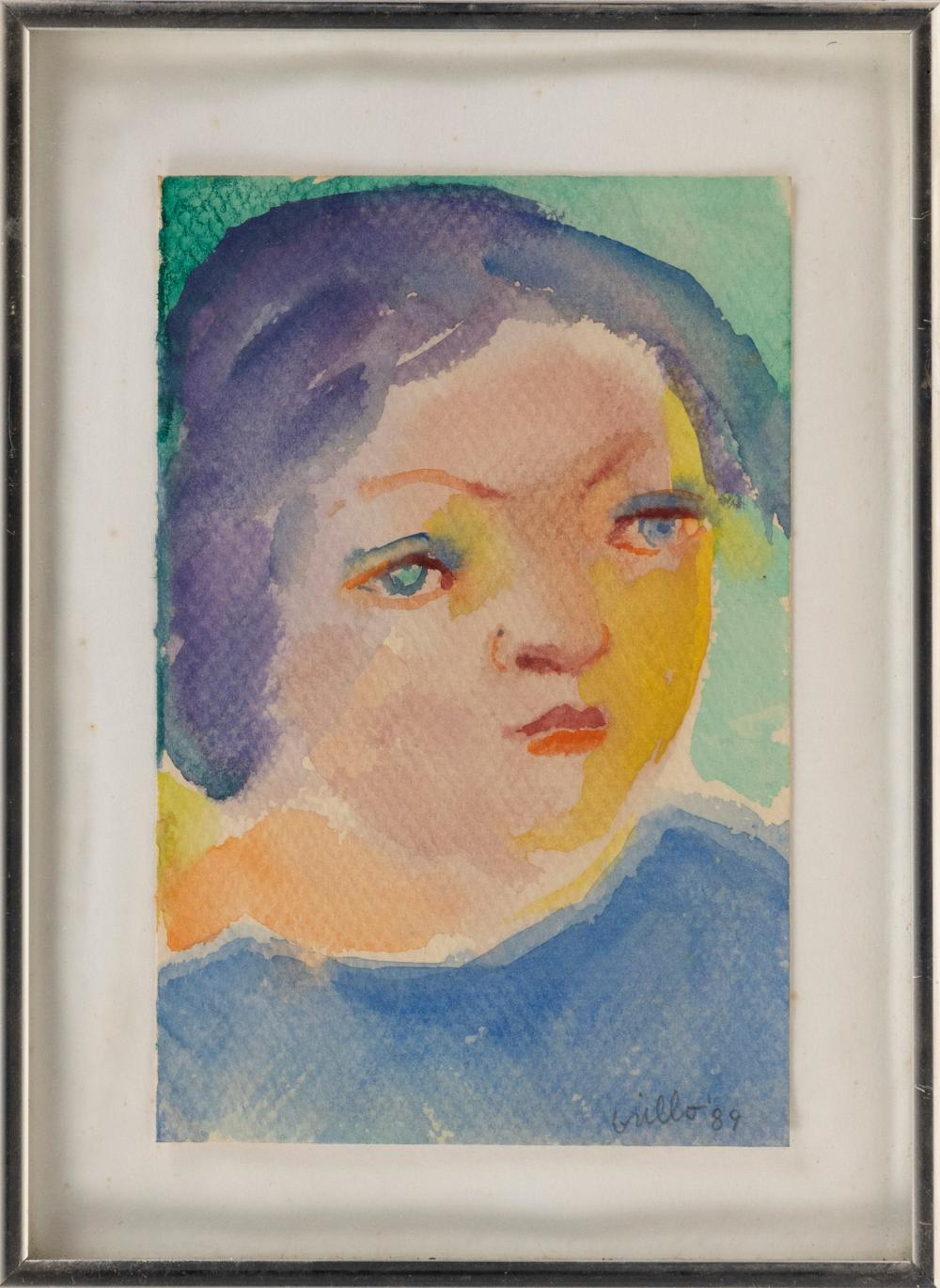 """JOHN GRILLO , Massachusetts, 1917-2014, Portrait of a woman., Signed and dated lower right """"Grillo '89""""., Watercolor on paper, 8.5"""" x 5.5"""". Framed 11"""" x 8.25""""."""