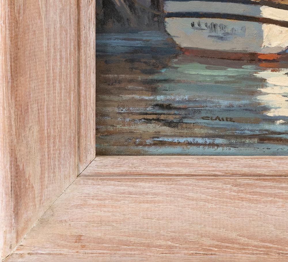 IRENE STRY, Massachusetts/New York/Hungary, 1904-1963, Fishing boats at dock., Oil on canvas board, 12
