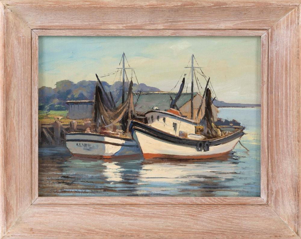 "IRENE STRY, Massachusetts/New York/Hungary, 1904-1963, Fishing boats at dock., Oil on canvas board, 12"" x 16"". Framed 17"" x 21""."