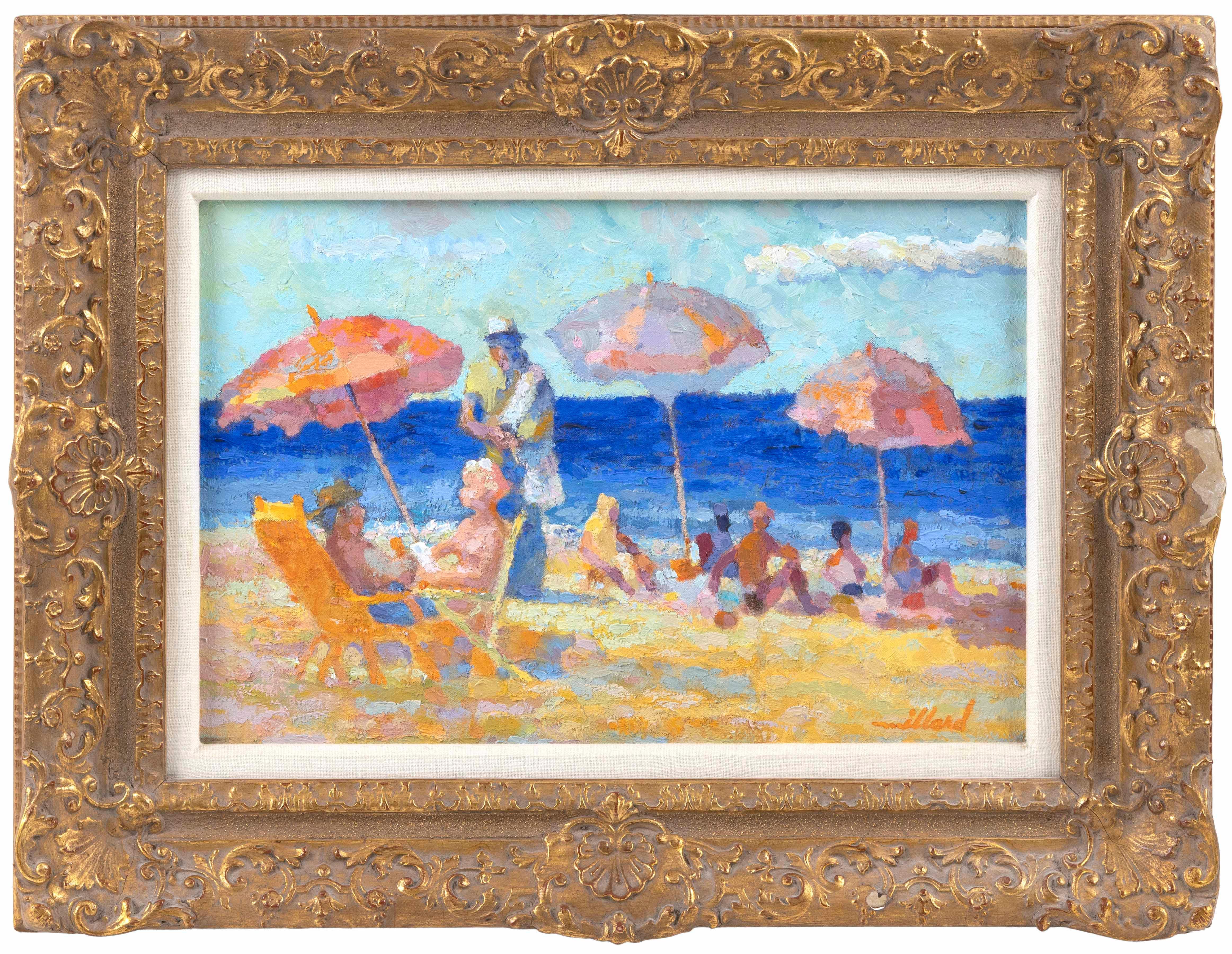 "DAVID L. MILLARD, Massachusetts, 1915-2002, ""Le Belle Plage, Cannes, Fr.""., Oil on canvas, 12"" x 18"". Framed 19"" x 26""."