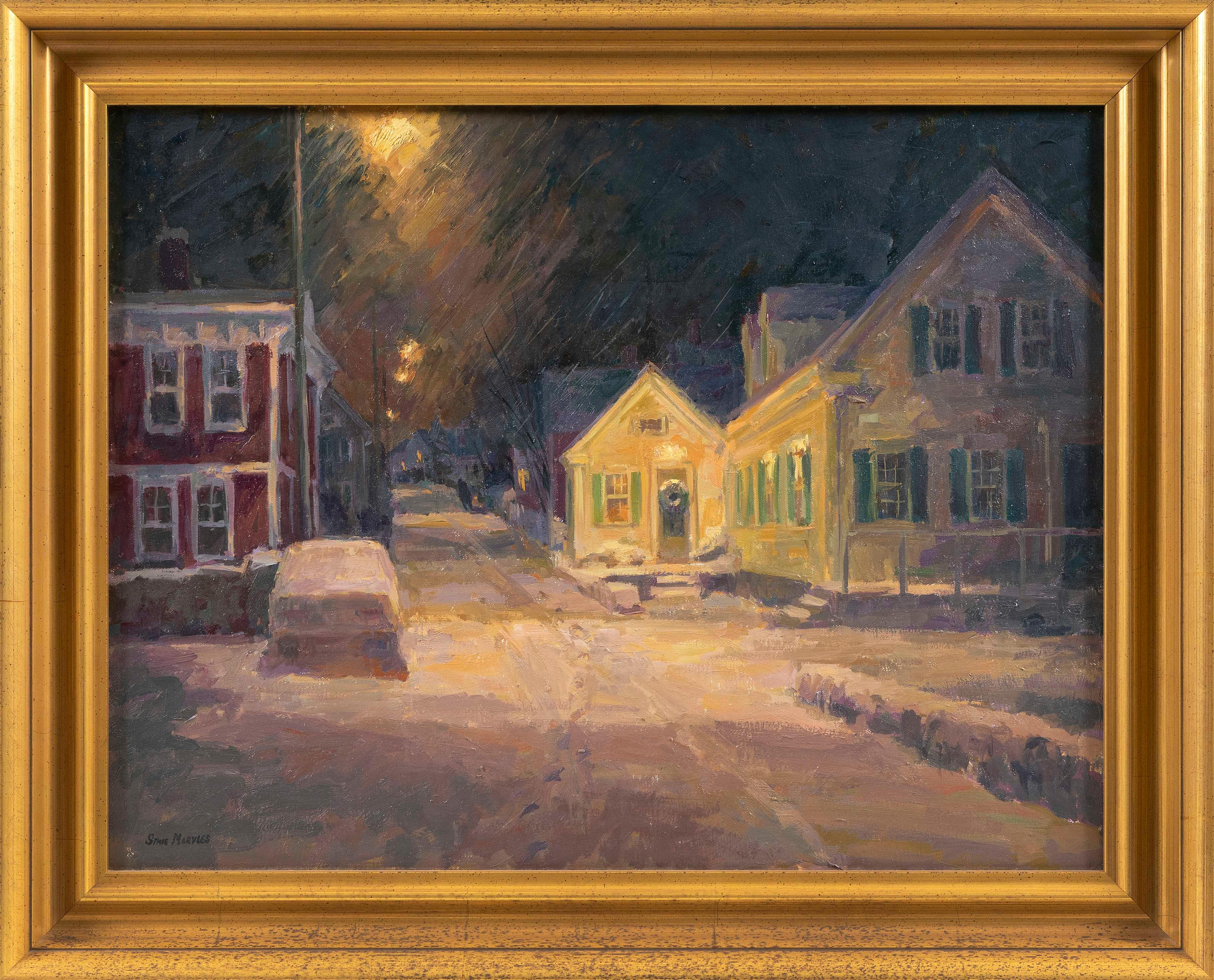 """SIMIE MARYLES (America, Contemporary), """"Snow-Covered Night""""., Oil on canvas, 20"""" x 26"""". Framed 25"""" x 31""""."""