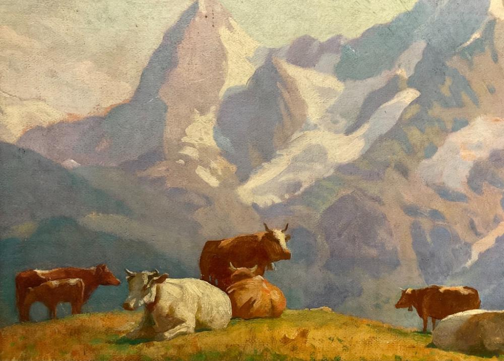 HAROLD C. DUNBAR (Massachusetts, 1882-1953), Mountain scene with cattle, possibly the Eiger, Mönch and Jungfrau mountains in Switzerland., Oil on board, 20