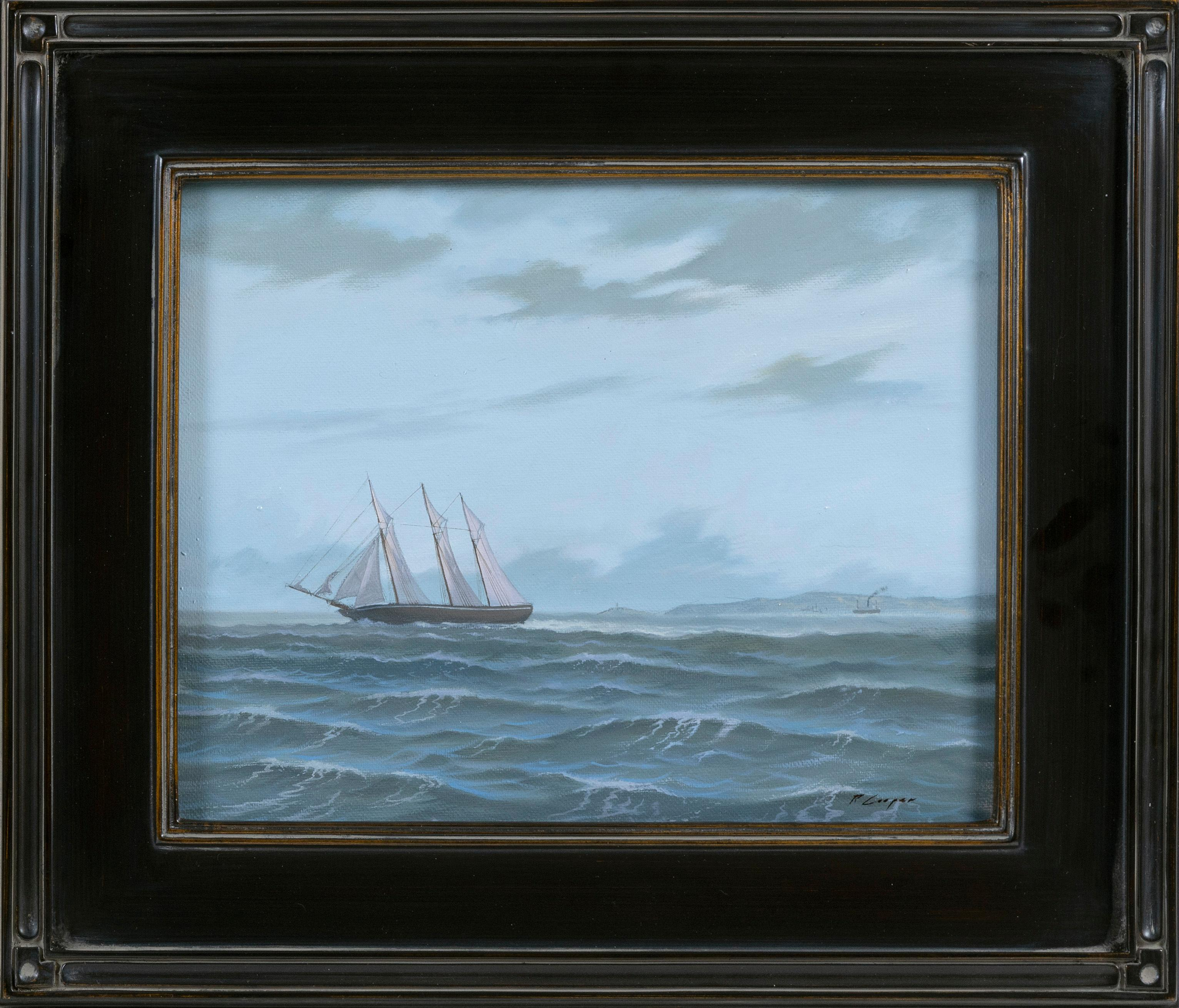 """RYAN COOPER, Massachusetts, Contemporary, """"Outward Bound""""., Oil on canvas, 11"""" x 14"""". Framed 16.5"""" x 19.5""""."""
