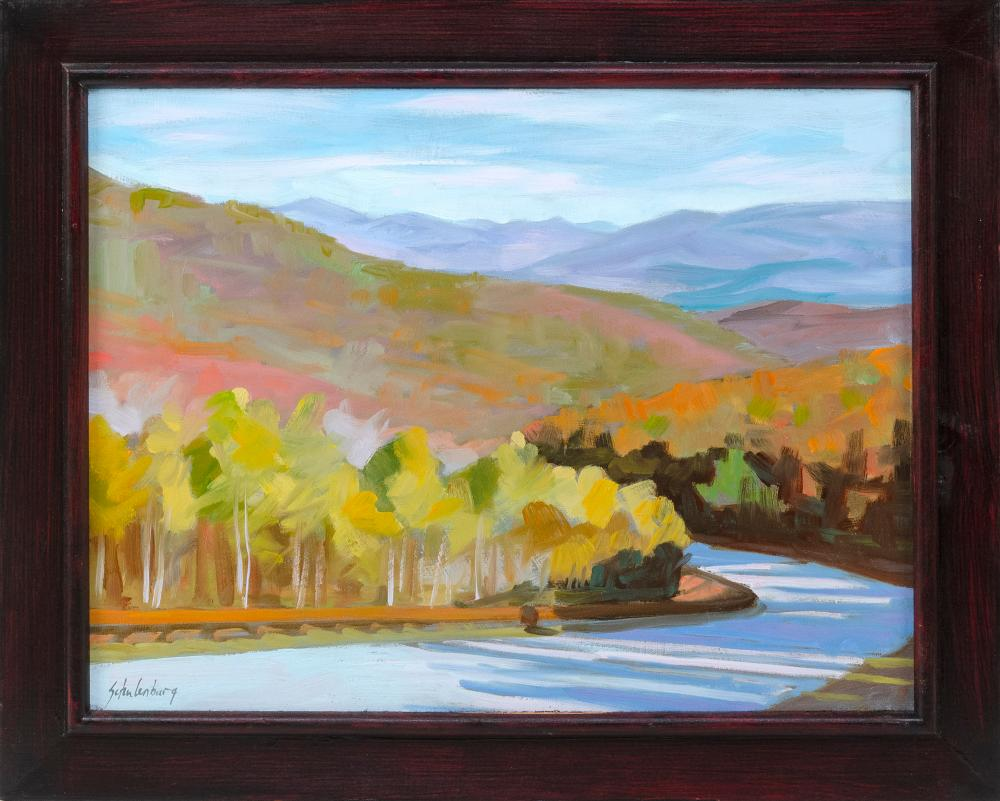 """PAUL SCHULENBURG , Massachusetts, Contemporary, """"Mountain Road""""., Signed lower right """"Schulenburg"""". Titled and signed verso., Oil on board, 12"""" x 16"""". Framed 16"""" x 19""""."""