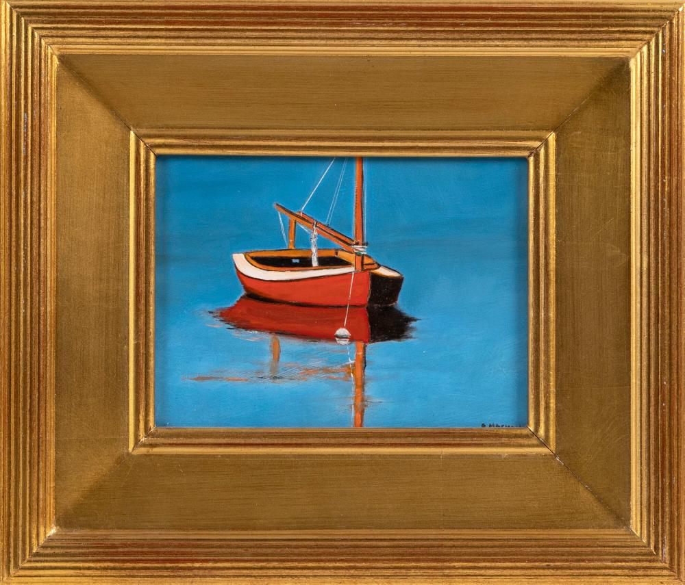 """GEORGE MACHON, Cape Cod, Contemporary, """"Red Beetle 2018""""., Oil on board, 6"""" x 8"""". Framed 11.5"""" x 13.5""""."""