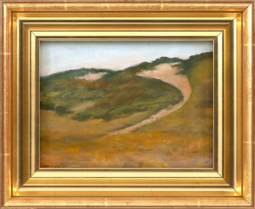 "JAN MESSIER, Massachusetts, b. 1949, Path to Ryder Beach, Truro, Massachusetts., Pastel on paper, 9"" x 12"". Framed 14"" x 17""."