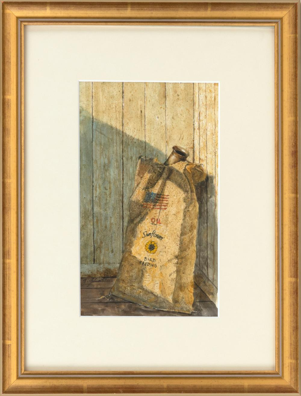 """GARRY GILMARTIN, America, 1949-2010, Sunflower seed sack., Watercolor on paper, 10"""" x 6"""" sight. Framed 17"""" x 13""""."""