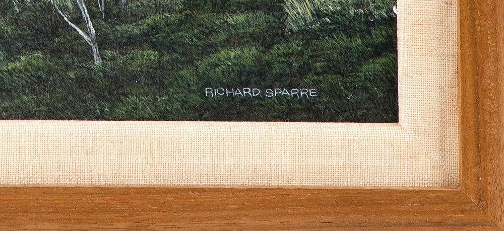 RICHARD SPARRE, Massachusetts, 1936-2008, Osprey nest., Tempera on panel, 14