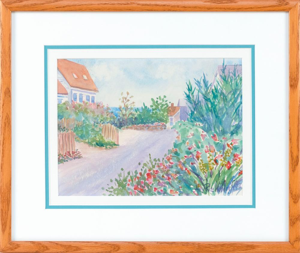"AMY RICE WOODRUFF , Massachusetts, Contemporary, Seaside cottages., Signed and dated lower right ""Amy Rice Woodruff 93""., Watercolor on paper, 9"" x 12"" sight. Framed 17"" x 19""."