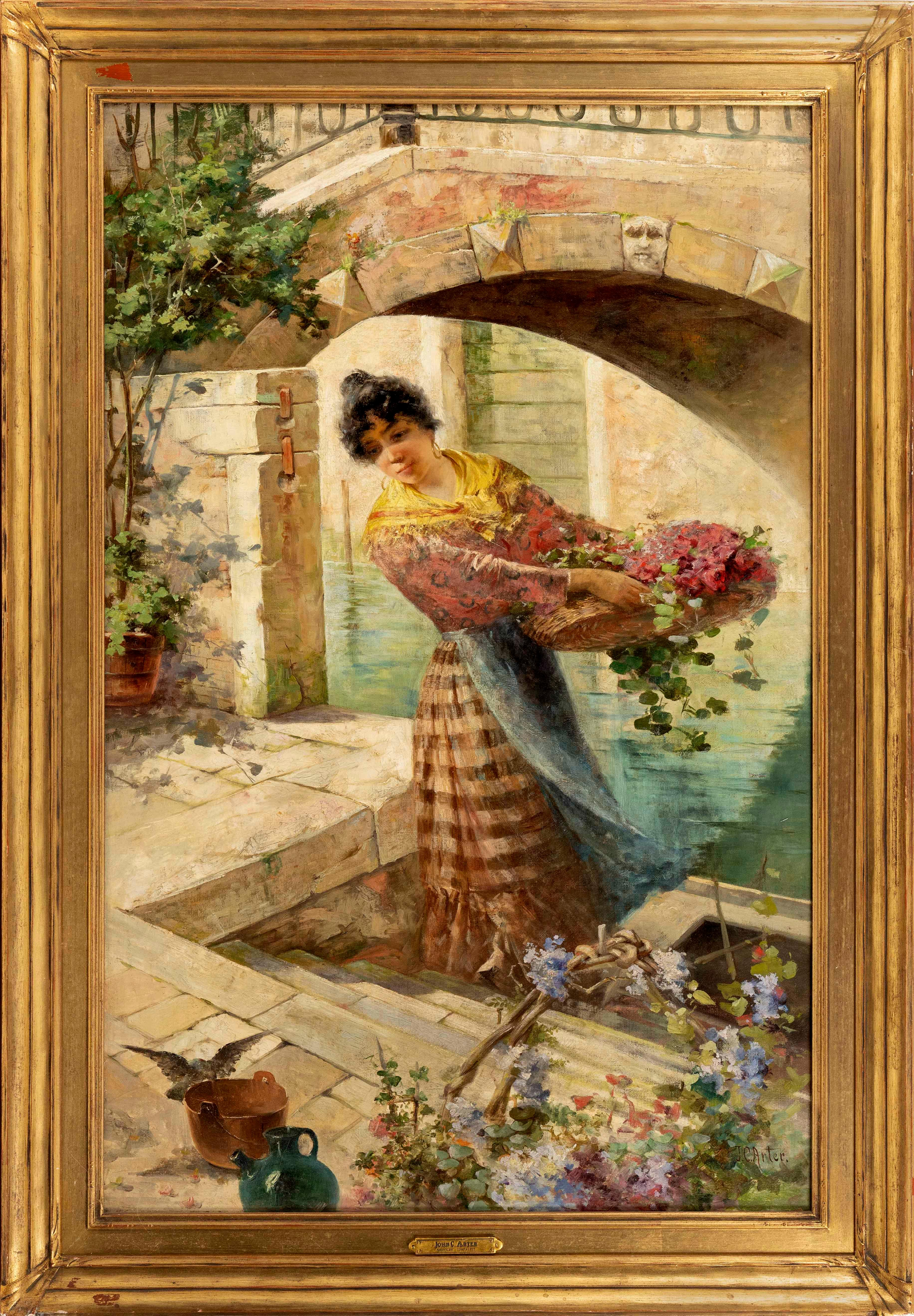 """J. CHARLES ARTER, New York/Ohio, 1860-1923, A young woman carrying a flower basket along a canal, likely Venice., Oil on canvas, 36""""..."""