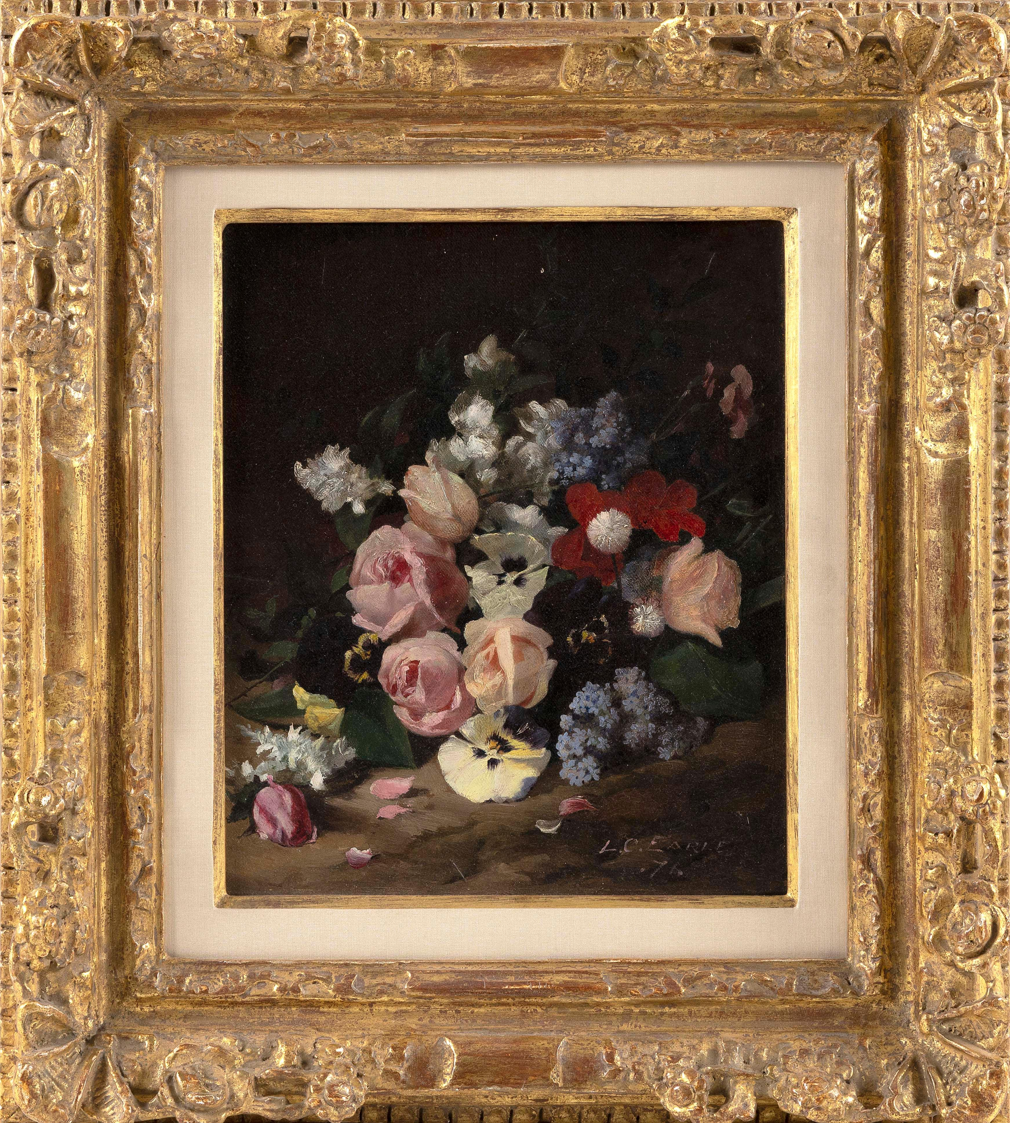 """LAWRENCE CARMICHAEL EARLE (Michigan/New York/New Jersey, 1845-1921), Floral still life., Oil on canvas, 12"""" x 10"""". Framed 19"""" x 17""""."""