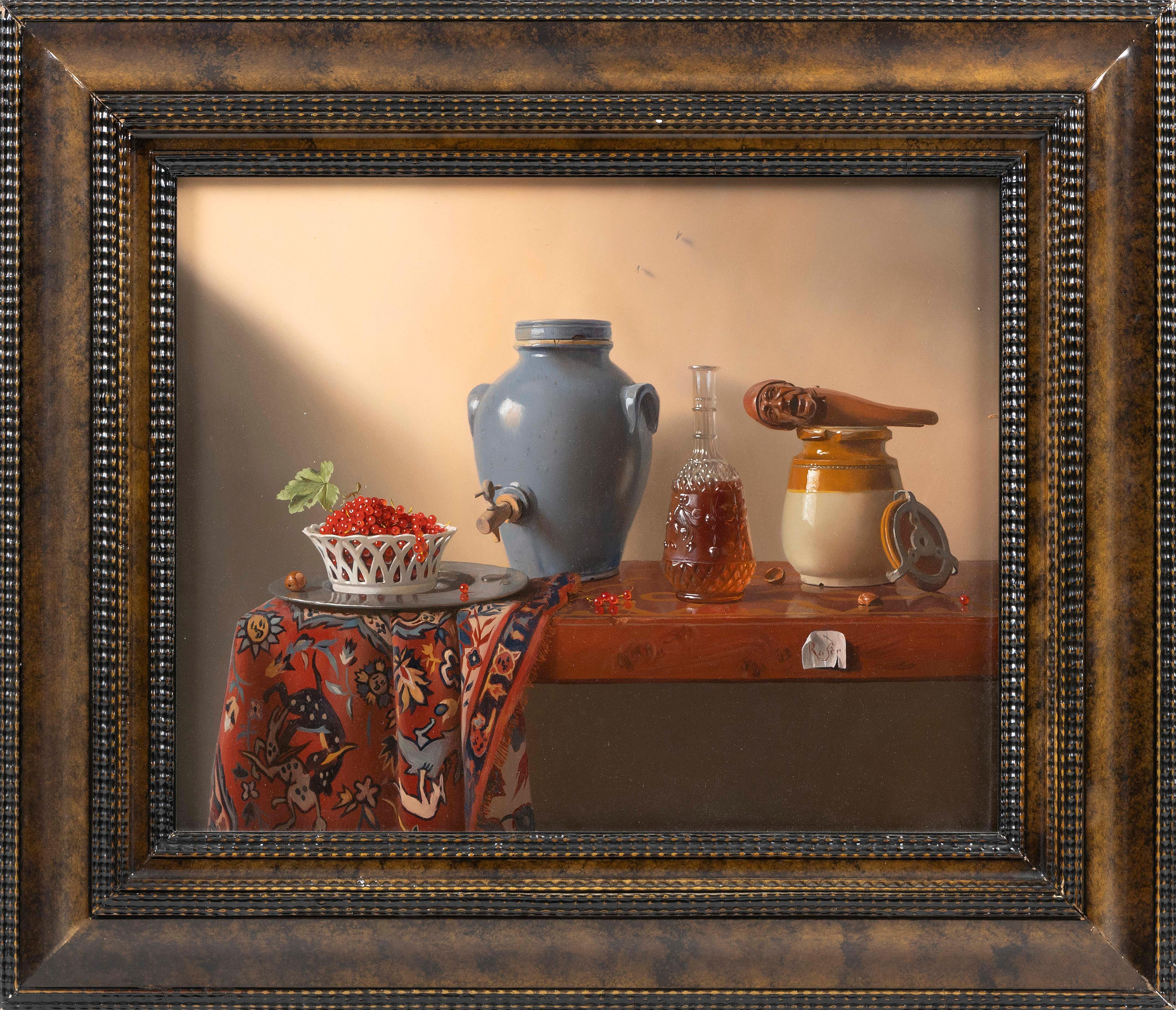 "PIERRE RASER (France, 20th Century), ""Groseilles, vinaigrier & casse-noisette""., Oil on canvas, 13"" x 16"". Framed 19.25"" x 22.25""."