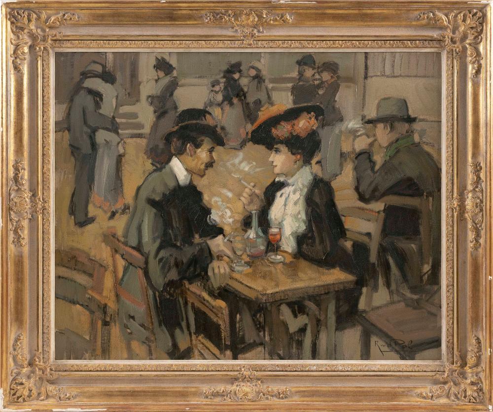 "RICHARD VAN DER POL (The Netherlands, b. 1936), ""Secret Meeting""., Oil on canvas, 30"" x 40"". Framed 42"" x 52""."