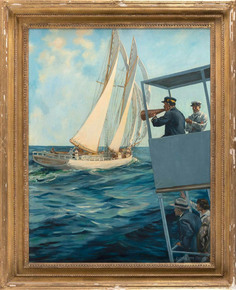 """ANTON OTTO FISCHER , New York/Germany, 1882-1962, Fans and officials watching a yacht race from an observation platform., Signed lower right """"Anton Otto Fischer""""., Oil on canvas, 36"""" x 28"""". Framed 43"""" x 35""""."""