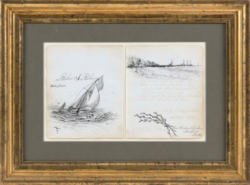 """PARKER PERKINS (Massachusetts,1862-1942), Two marine sketches,, Inks on paper, both 8"""" x 6.75"""". Framed 16.25"""" x 22""""."""
