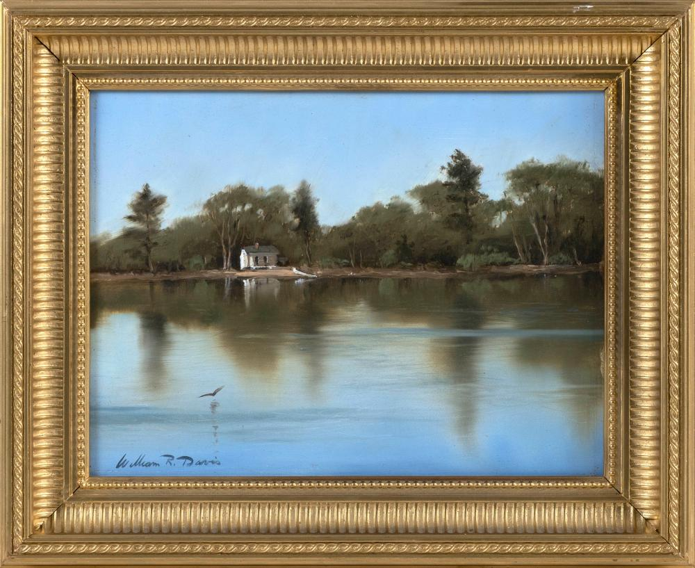 "WILLIAM R. DAVIS, Massachusetts, b. 1952, ""Sketch of a Cottage on White Pond Harwich, MA""., Oil on panel, 9"" x 12"". Framed 13"" x 16""."
