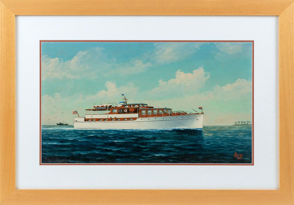 "JOE SELBY, Florida, 1893-1960, Portrait of a cabin cruiser., Oil on canvas board, 13.75"" x 23.25"" sight. Framed 23"" x 33""."