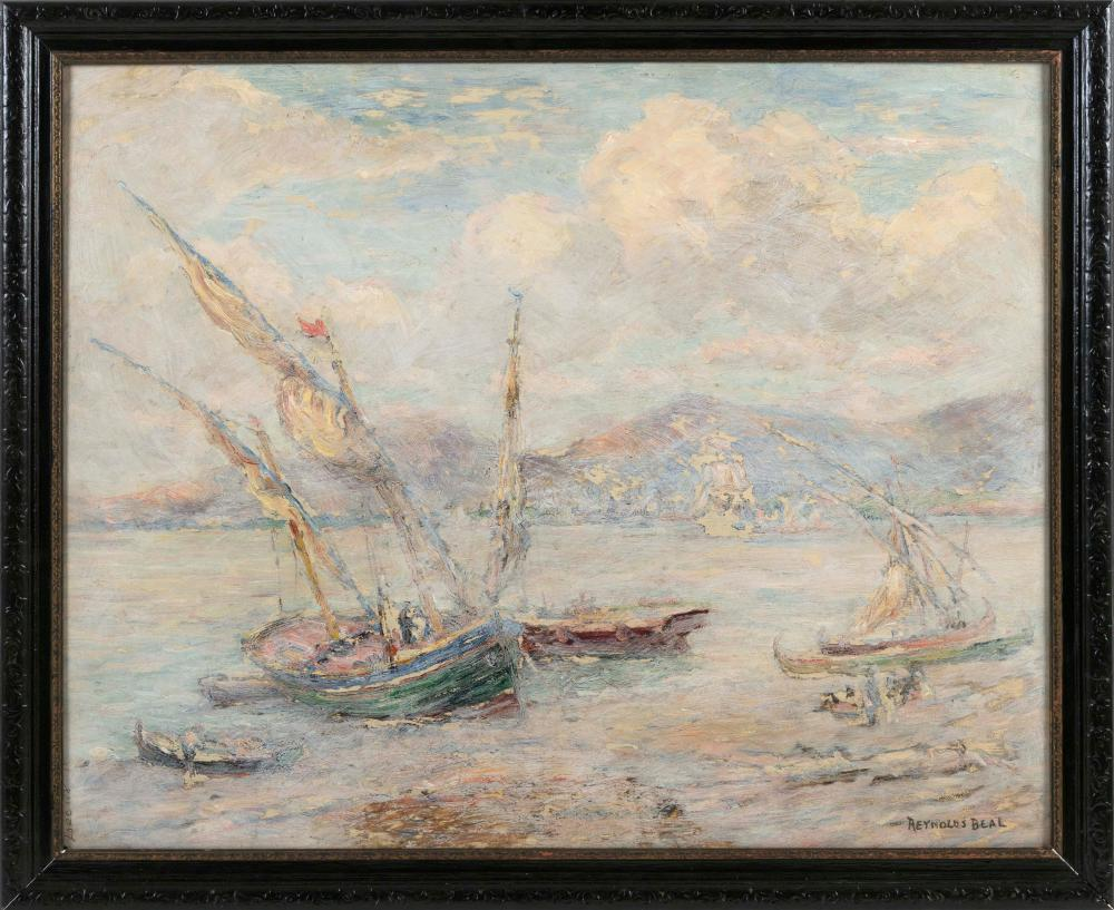 "REYNOLDS BEAL (Massachusetts/Rhode Island, 1866/67-1951), Fishing boats in a harbor., Oil on board, 24"" x 30"". Framed 28"" x 33.5""."