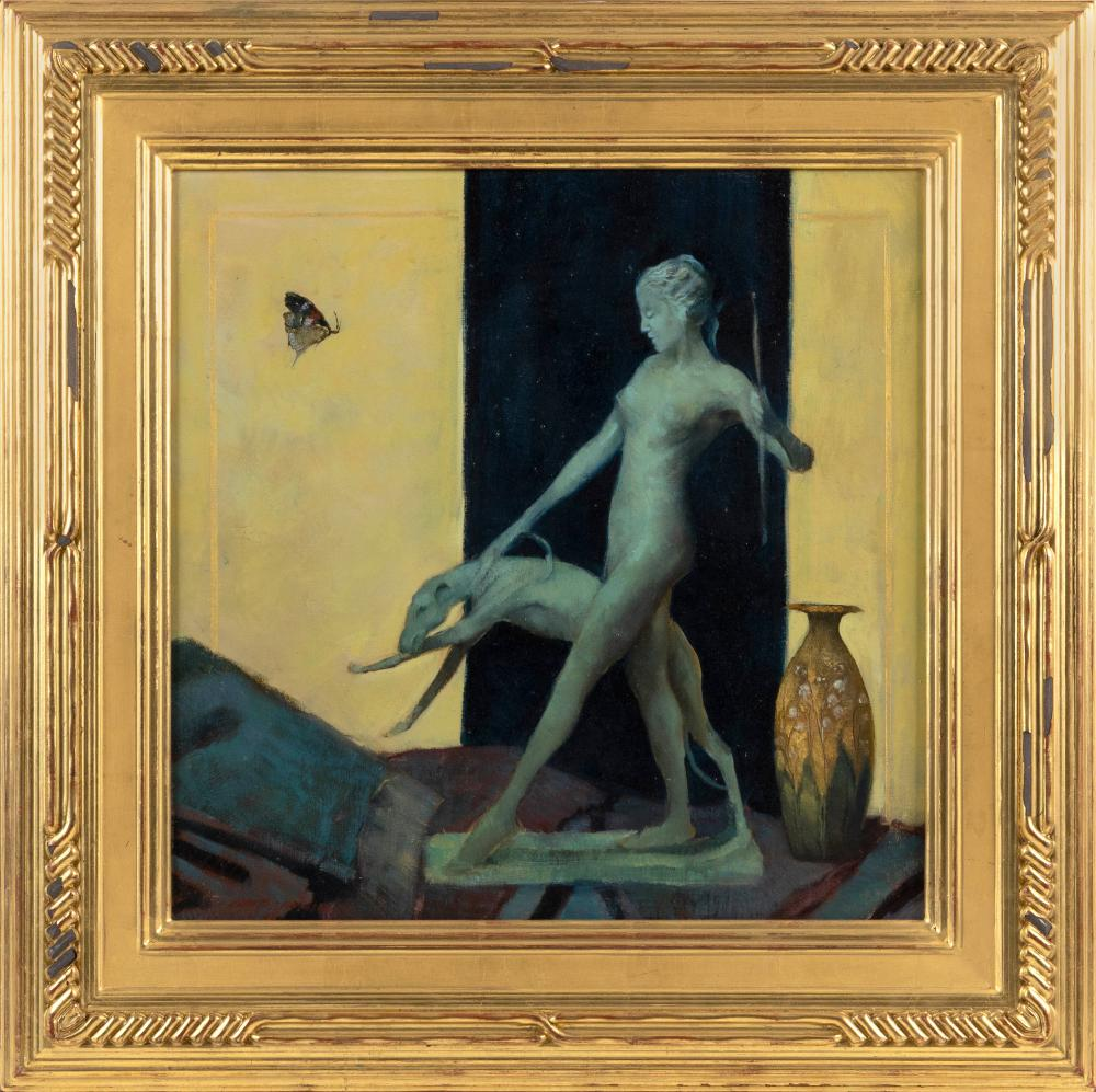 """CHRISTINE A. MOSHER (Massachusetts, Contemporary), """"Diana""""., Oil on canvas, 16"""" x 16"""". Framed 22.5"""" x 22.5""""."""