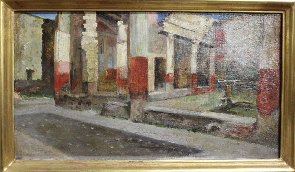 AMERICAN SCHOOL (Late 19th/Early 20th Century), City ruins, possibly Pompeii., Oil on canvas, 8