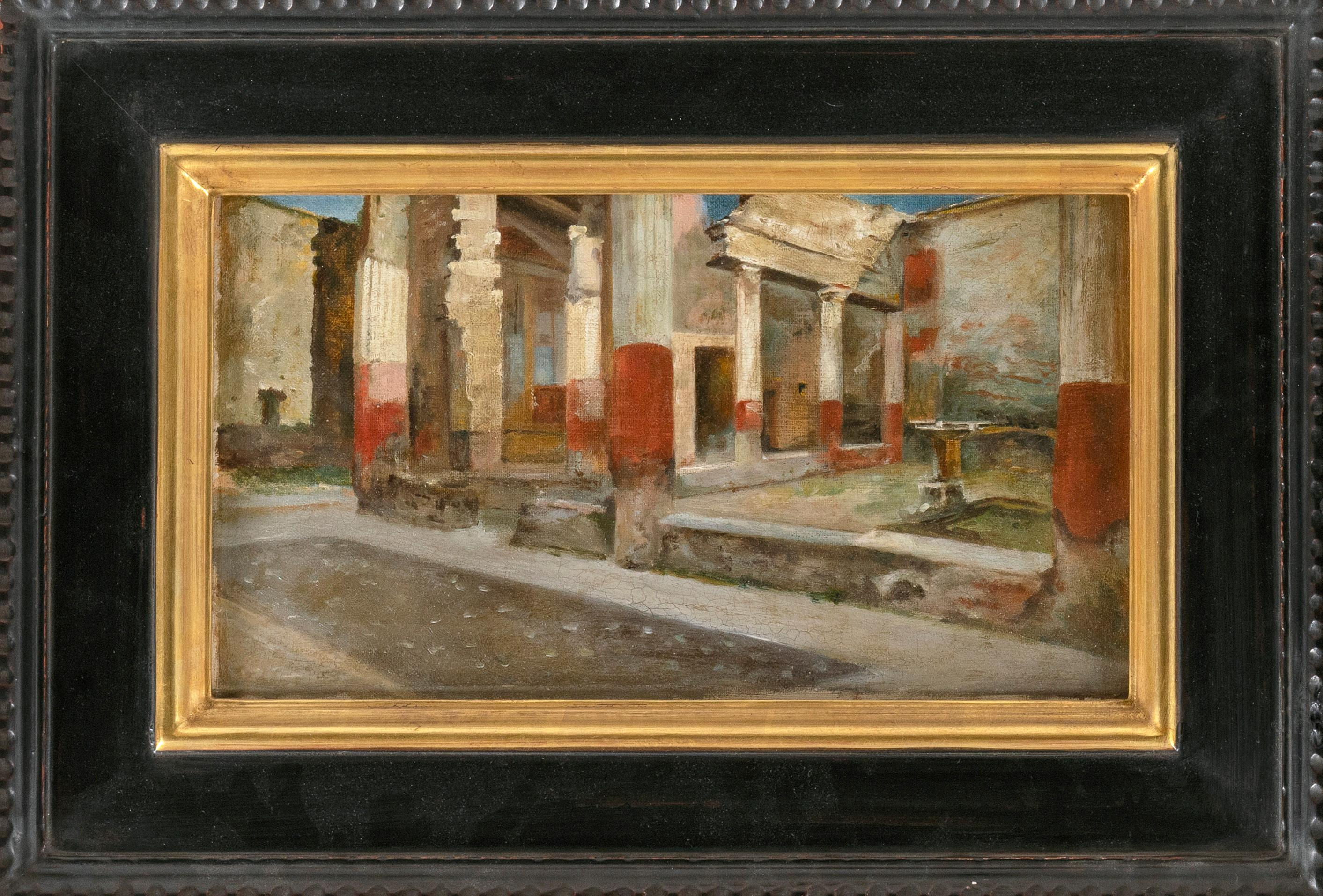 """AMERICAN SCHOOL (Late 19th/Early 20th Century), City ruins, possibly Pompeii., Oil on canvas, 8"""" x 14"""". Framed 13.5"""" x 19.5""""."""