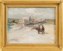 """EDWARD A. PAGE (Massachusetts, 1850-1928), Fishing shacks, North Shore., Oil on canvas, 9"""" x 12"""". Framed 13"""" x 19""""."""