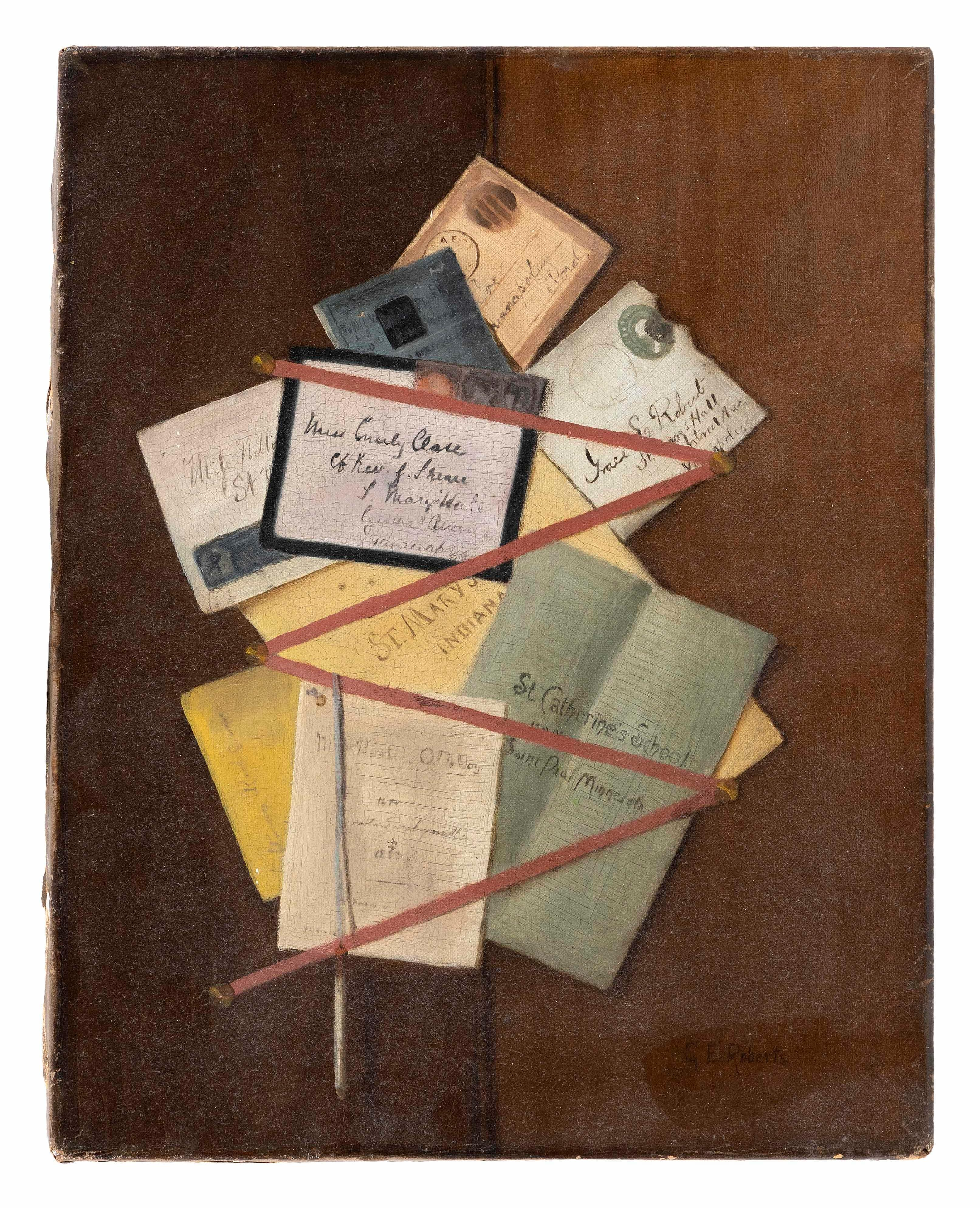 """GRACE E. ROBERTS (America, Late 19th/Early 20th Century), Trompe l'oeil of letters and pamphlets on a wall., Oil on canvas, 18"""" x 14"""". Unframed."""