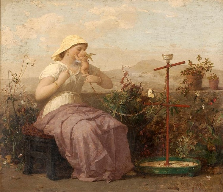 JEAN LOUIS HAMON, French, 1821-1874, Woman in a garden playing with small cherub, Oil on canvas, 15½