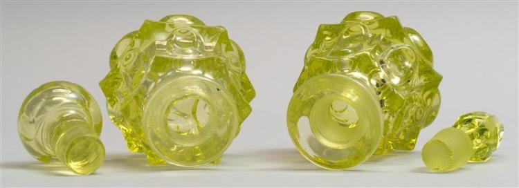 TWO SANDWICH GLASS COMPANY BLOWN-MOLDED COLOGNE BOTTLES Both in a Loop pattern variant in canary yellow. Both with replacement stopp...