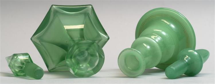 TWO GLASS COLOGNE BOTTLES Both in green. One from Bristol, England, height 7