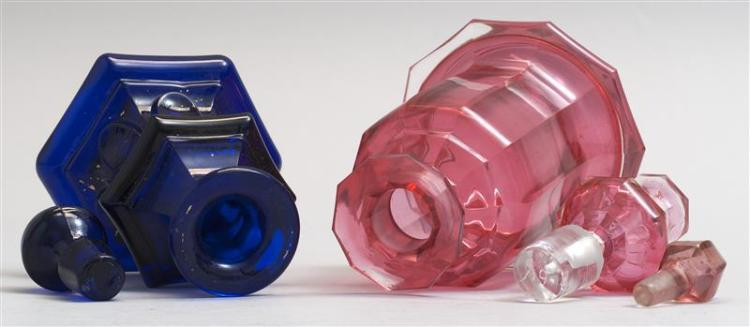 TWO GLASS COLOGNE BOTTLES 1) Sandwich Glass Company bottle in Loop pattern in cobalt blue. Replacement stopper. Height 4.5