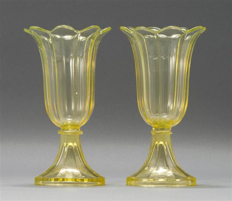 """PAIR OF SANDWICH GLASS COMPANY PRESSED GLASS TULIP VASES In canary yellow. Heights 10"""". From a Cape Cod Collection of Early Glass."""