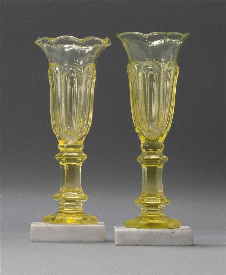PAIR OF NEW ENGLAND GLASS COMPANY PRESSED GLASS VASES In Loop pattern in canary yellow. Mounted to square white marbles bases. Heigh...