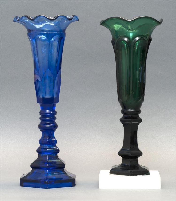 TWO PRESSED GLASS VASES One by the Sandwich Glass Company in Arch pattern in cobalt blue. Other by the New England Glass Company in...