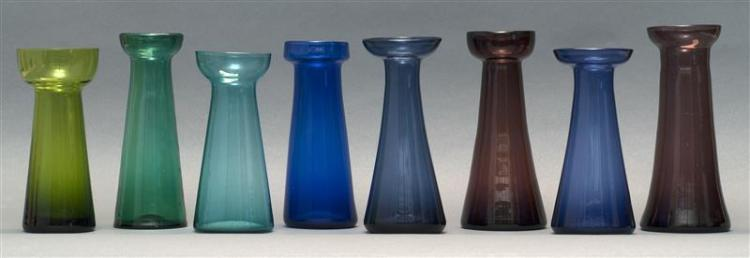 COLLECTION OF EIGHT SANDWICH GLASS FREE-BLOWN HYACINTH VASES Two amethyst, four in varied shades of blue, and two in varied shades o...