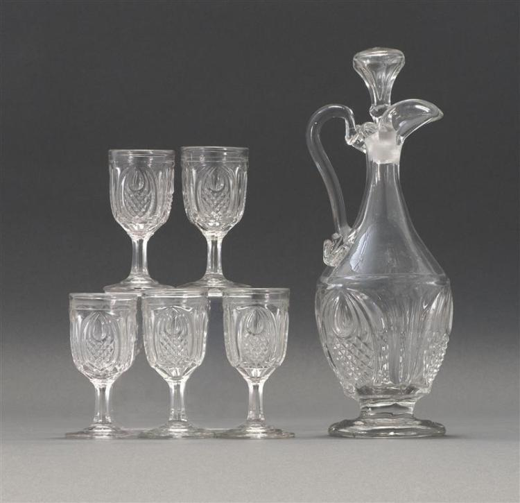 """SANDWICH GLASS COMPANY FLINT PATTERN GLASS CLARET Together with five stemmed cordial glasses, heights 4"""". Cordials and claret all in..."""