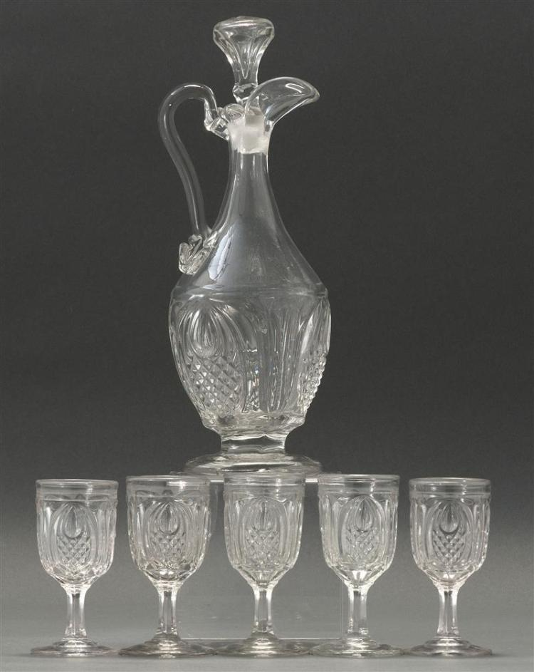 SANDWICH GLASS COMPANY FLINT PATTERN GLASS CLARET Together with five stemmed cordial glasses, heights 4