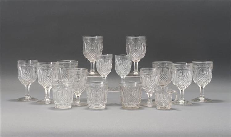 SIXTEEN SANDWICH GLASS COMPANY FLINT PATTERN GLASS DRINKING VESSELS All in New England Pineapple pattern in clear. Includes eight wa...