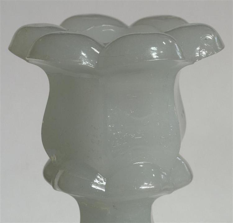 PAIR OF SANDWICH GLASS COMPANY PRESSED GLASS DOLPHIN CANDLESTICKS In clambroth. Single-step bases. Heights 10.25