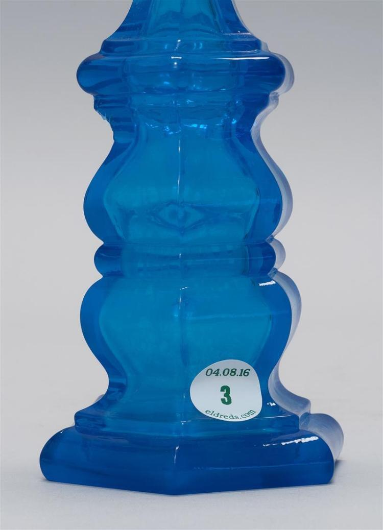 BLOWN-MOLDED COLOGNE BOTTLE ATTRIBUTED TO PITTSBURGH GLASS COMPANY In electric blue. Height 9.5