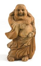 CARVED WOOD FIGURE OF A STANDING BUDDHA Height 27