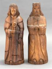 PAIR OF SANTO WOOD FIGURES For holding liquor bottles. Heights 16