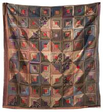 LOG CABIN QUILT Worked in browns, reds, and other colors, as well as a variety of fabrics. 77