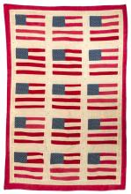 CHILD'S CRIB QUILT With decoration of fifteen American flags. 32.25