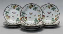 TEN FRENCH PORCELAIN PLATES With insect and fruit decoration. Diameters 9