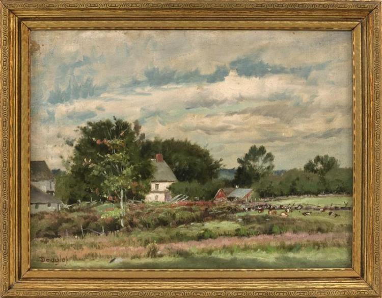 ARTHUR DOUGLAS, Rhode Island, 1860-1949, Barnyard scene with cows., Oil on board, 11.75