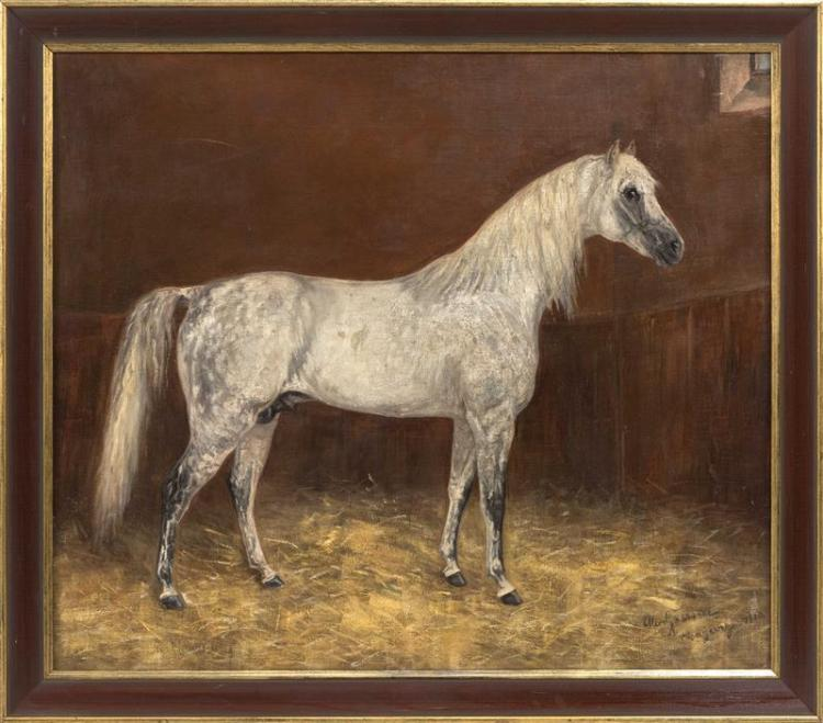 ALICE GASSNER, Austrian, 20th Century, Portrait of a white horse., Oil on canvas, 21.25