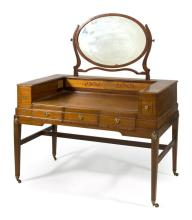 HEPPLEWHITE-STYLE DRESSING TABLE In mahogany with string and geometric inlay to top and sides. Attached oval mirror flanked by raise...